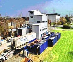 Waschwasseraufbereitung einer Sandwäsche mit Sedimentationsstrecke und Kammerfilterpresse zur Schlammentwässerung